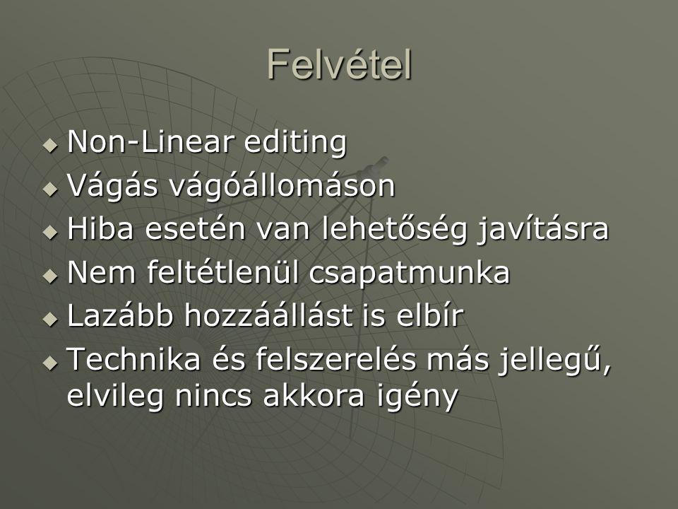 Felvétel Non-Linear editing Vágás vágóállomáson