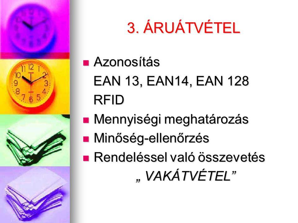 3. ÁRUÁTVÉTEL Azonosítás EAN 13, EAN14, EAN 128 RFID