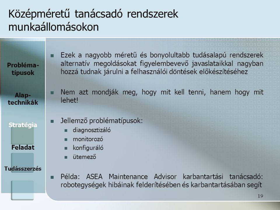 Középméretű tanácsadó rendszerek munkaállomásokon