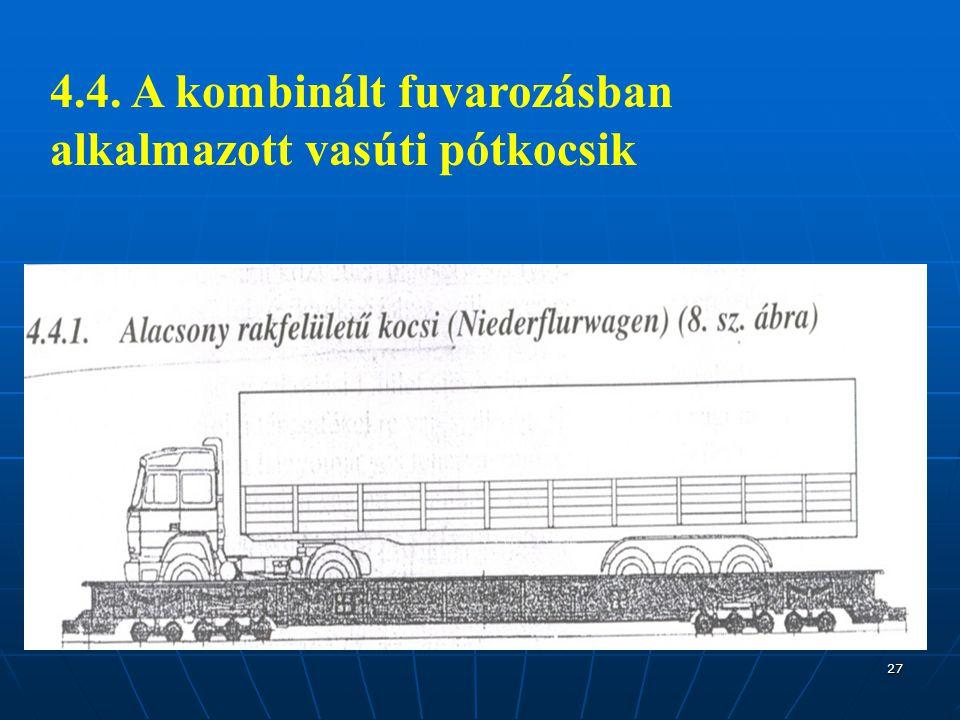 4.4. A kombinált fuvarozásban alkalmazott vasúti pótkocsik