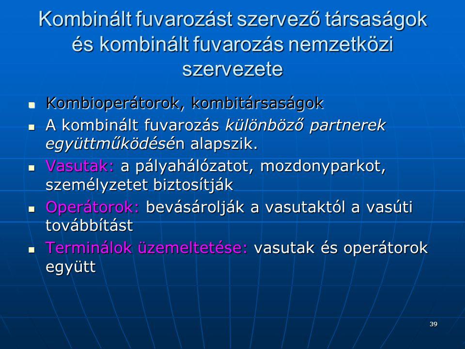 Kombinált fuvarozást szervező társaságok és kombinált fuvarozás nemzetközi szervezete