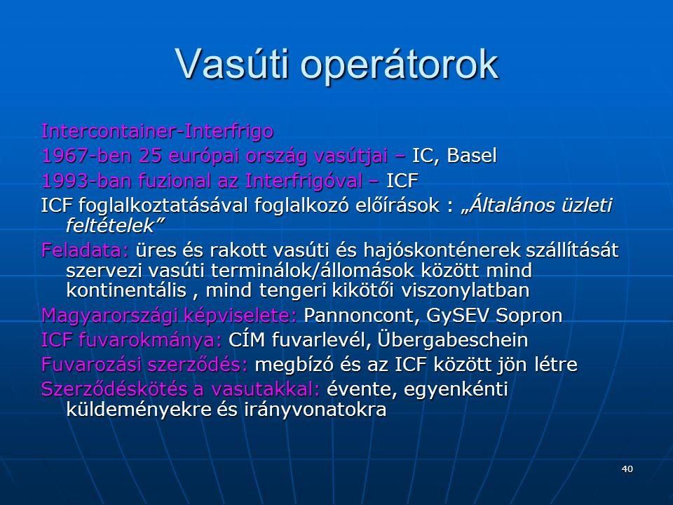 Vasúti operátorok Intercontainer-Interfrigo