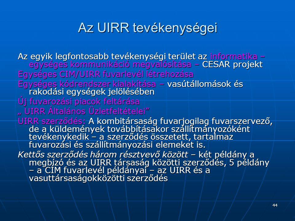 Az UIRR tevékenységei Az egyik legfontosabb tevékenységi terület az informatika – egységes kommunikáció megvalósítása – CESAR projekt.