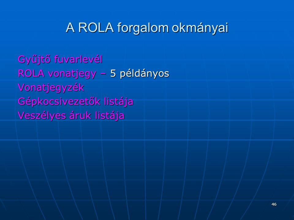 A ROLA forgalom okmányai