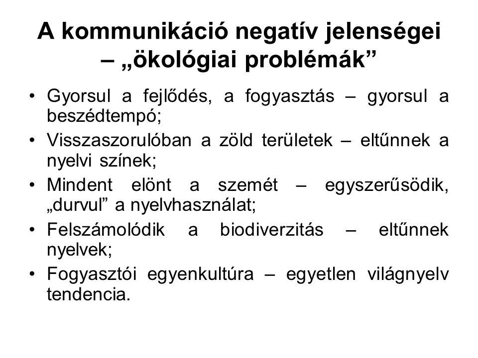 """A kommunikáció negatív jelenségei – """"ökológiai problémák"""