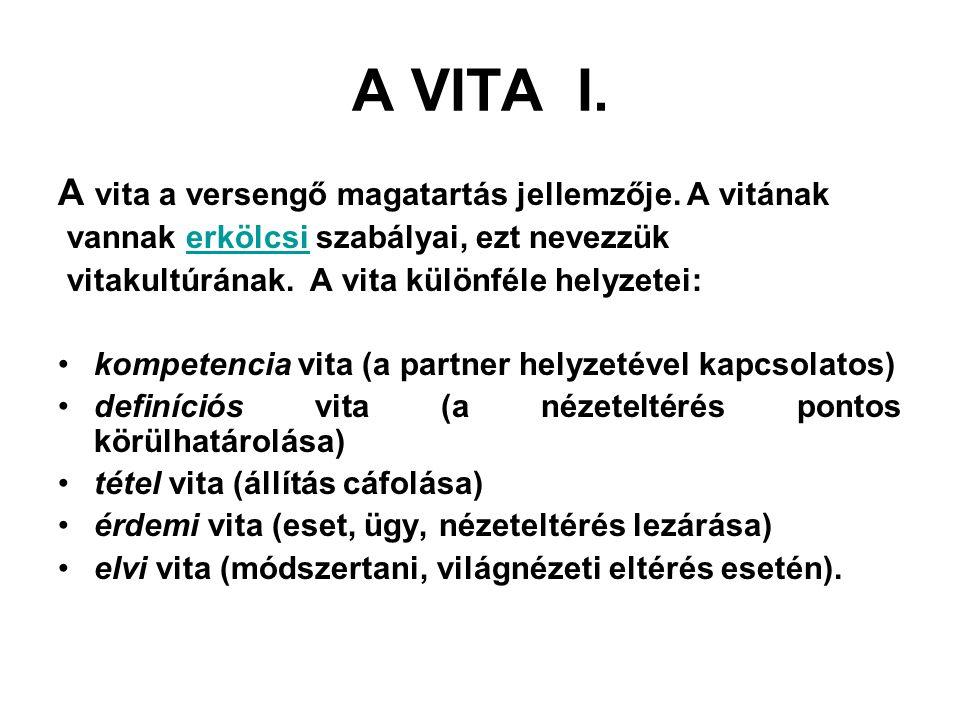 A VITA I. A vita a versengő magatartás jellemzője. A vitának