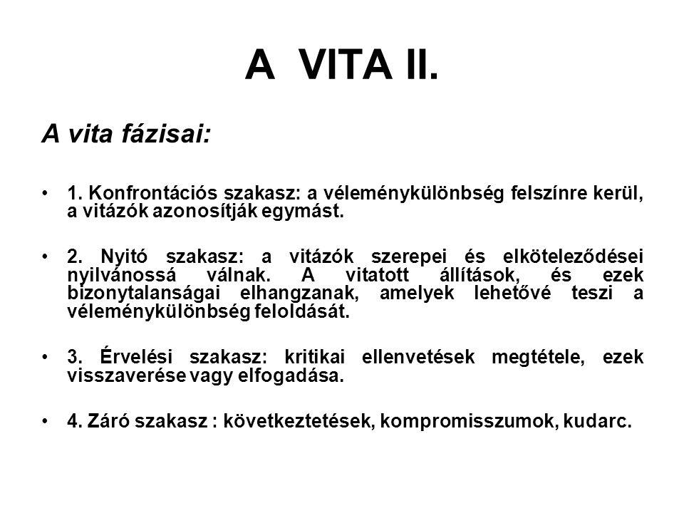 A VITA II. A vita fázisai: