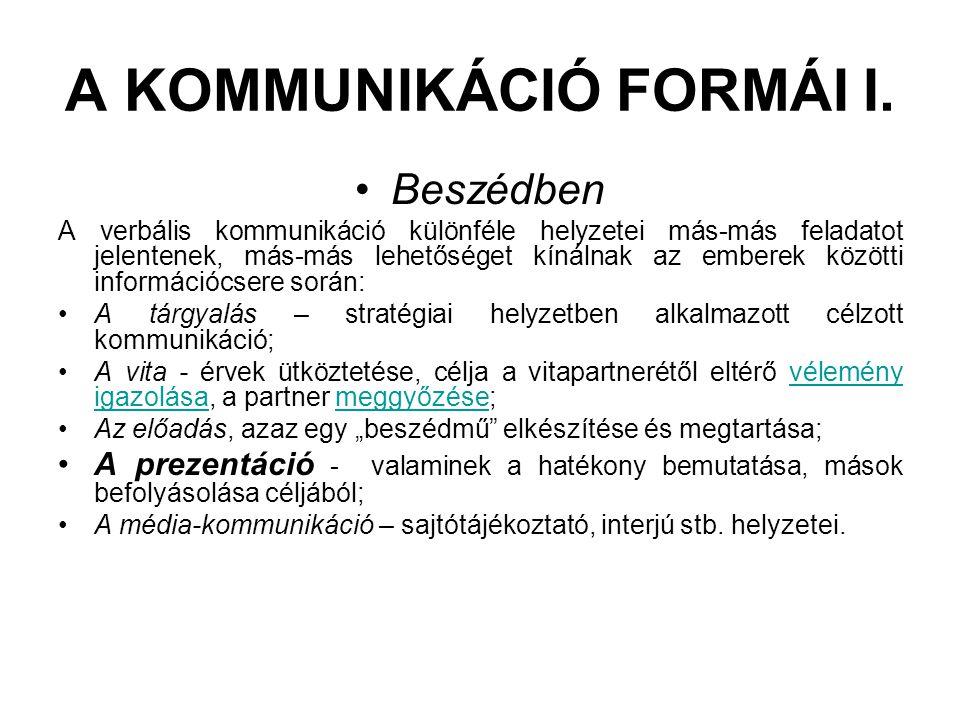 A KOMMUNIKÁCIÓ FORMÁI I.