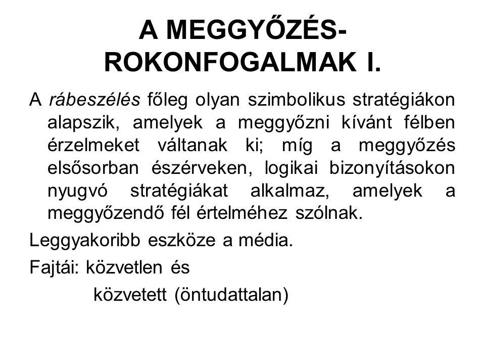 A MEGGYŐZÉS- ROKONFOGALMAK I.