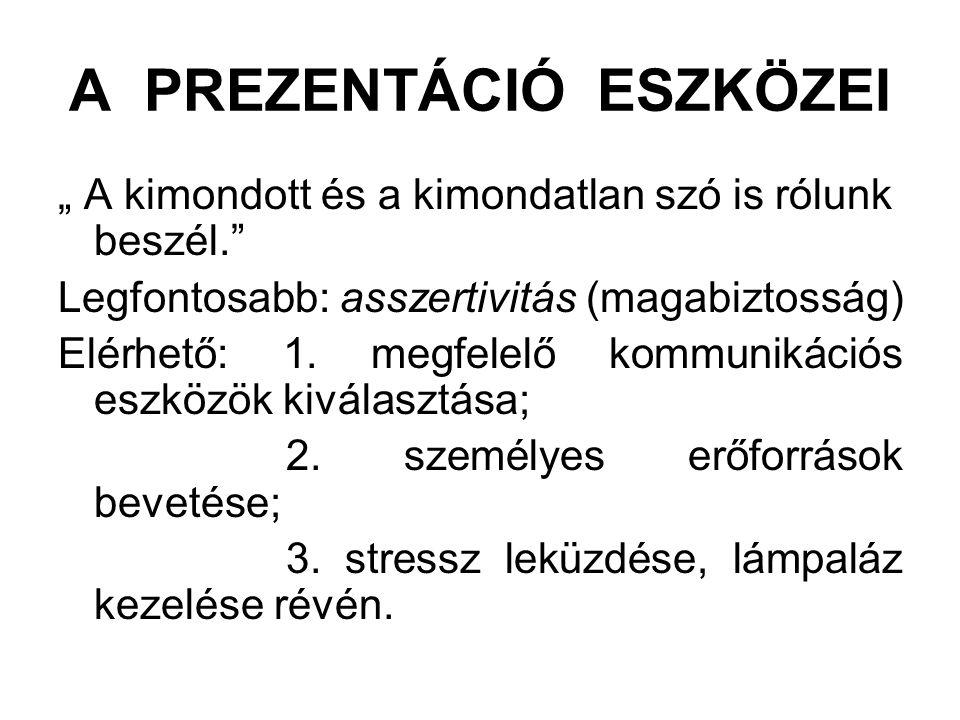 A PREZENTÁCIÓ ESZKÖZEI