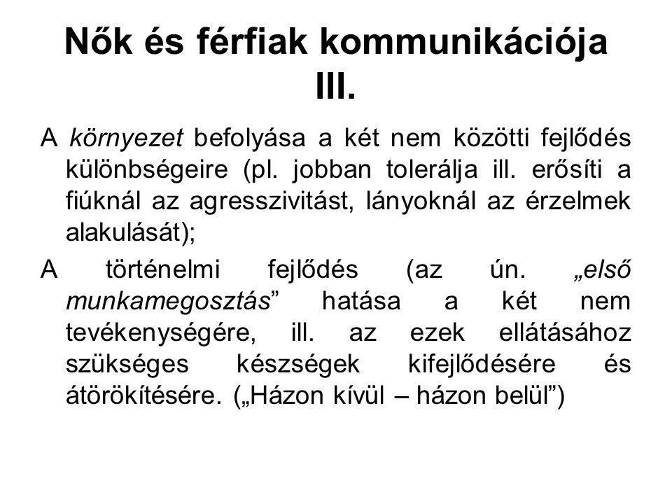 Nők és férfiak kommunikációja III.