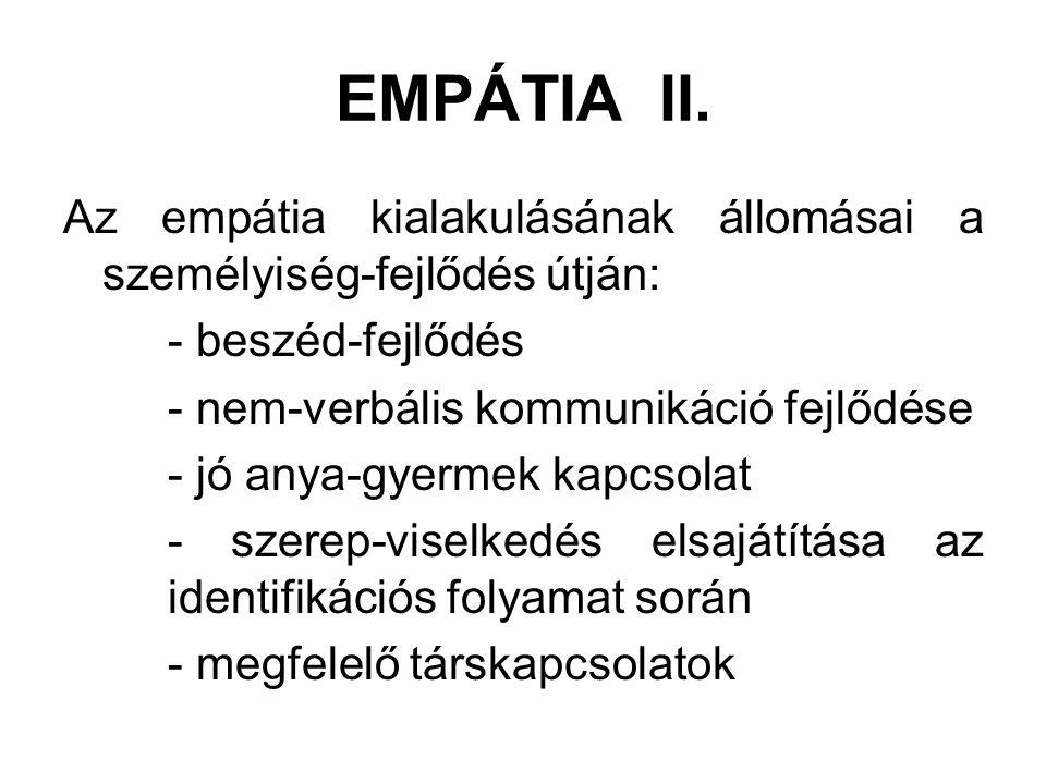 EMPÁTIA II. Az empátia kialakulásának állomásai a személyiség-fejlődés útján: - beszéd-fejlődés. - nem-verbális kommunikáció fejlődése.