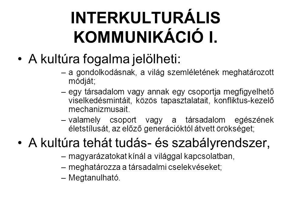 INTERKULTURÁLIS KOMMUNIKÁCIÓ I.