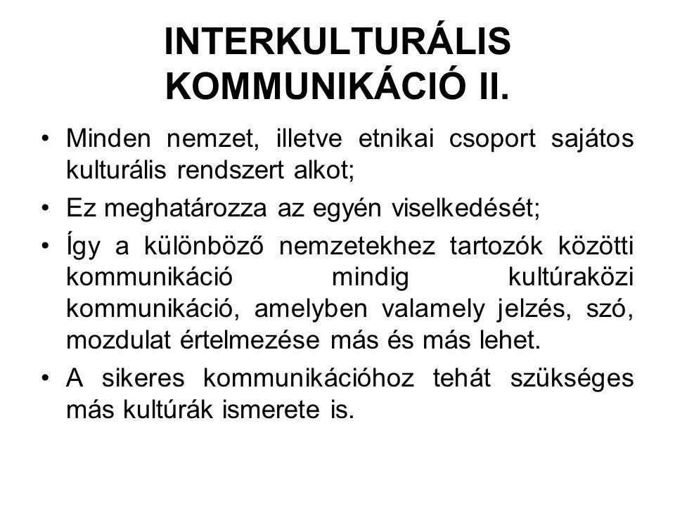 INTERKULTURÁLIS KOMMUNIKÁCIÓ II.