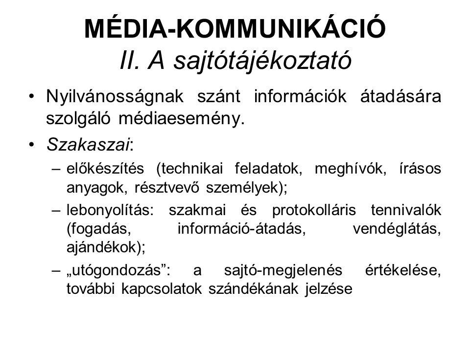 MÉDIA-KOMMUNIKÁCIÓ II. A sajtótájékoztató