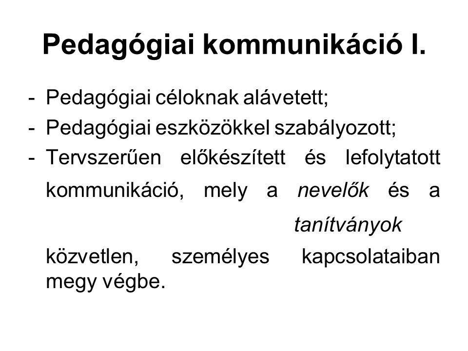 Pedagógiai kommunikáció I.
