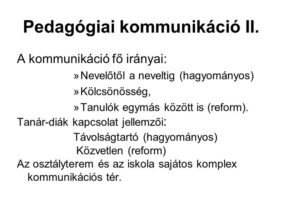 Pedagógiai kommunikáció II.