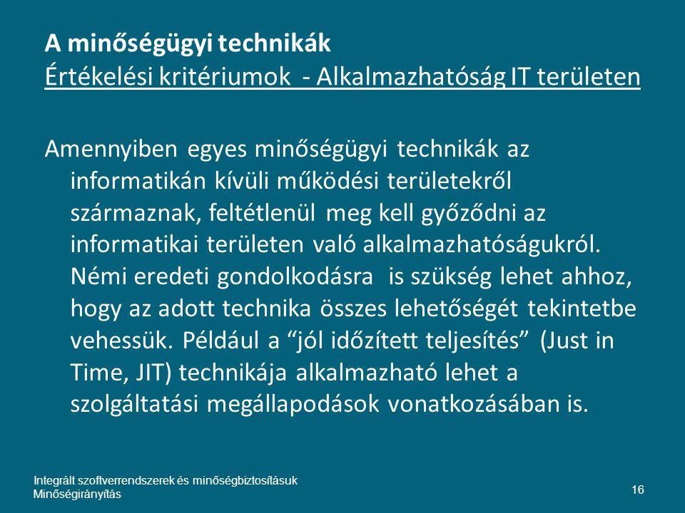 Inte A minőségügyi technikák Értékelési kritériumok - Alkalmazhatóság IT területen.