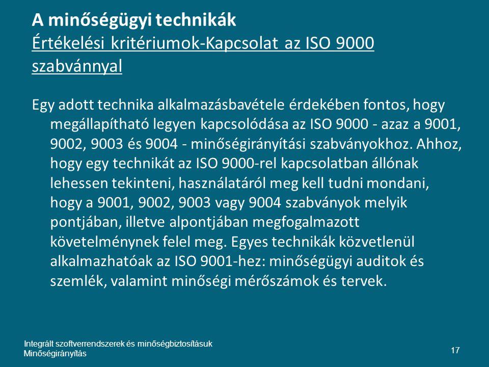 Inte A minőségügyi technikák Értékelési kritériumok-Kapcsolat az ISO 9000 szabvánnyal.