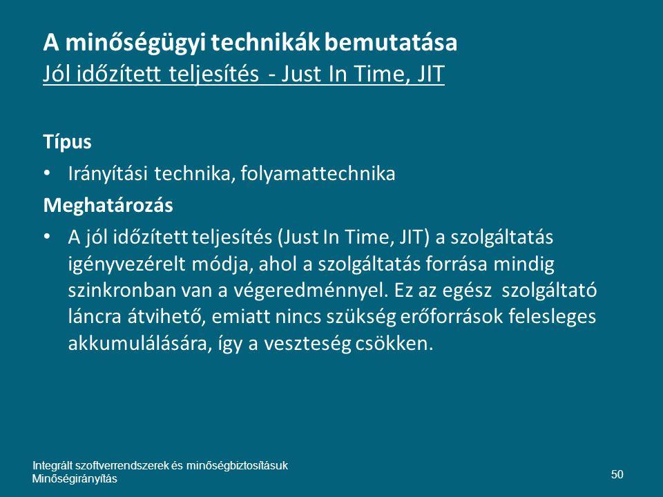 Inte A minőségügyi technikák bemutatása Jól időzített teljesítés - Just In Time, JIT. Típus. Irányítási technika, folyamattechnika.