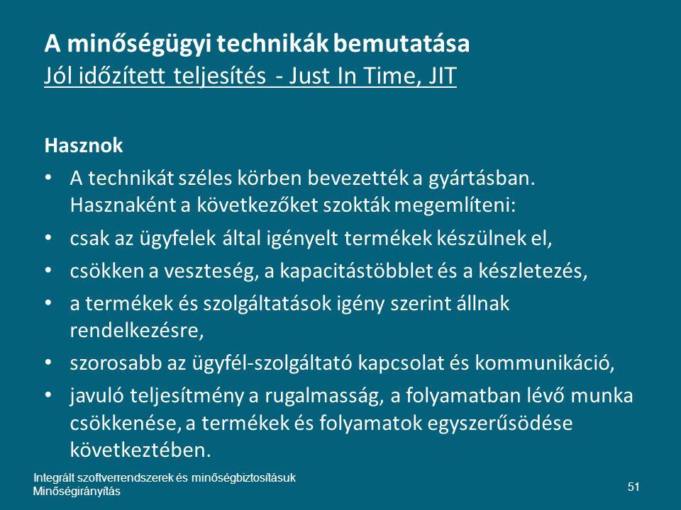 Inte A minőségügyi technikák bemutatása Jól időzített teljesítés - Just In Time, JIT. Hasznok.
