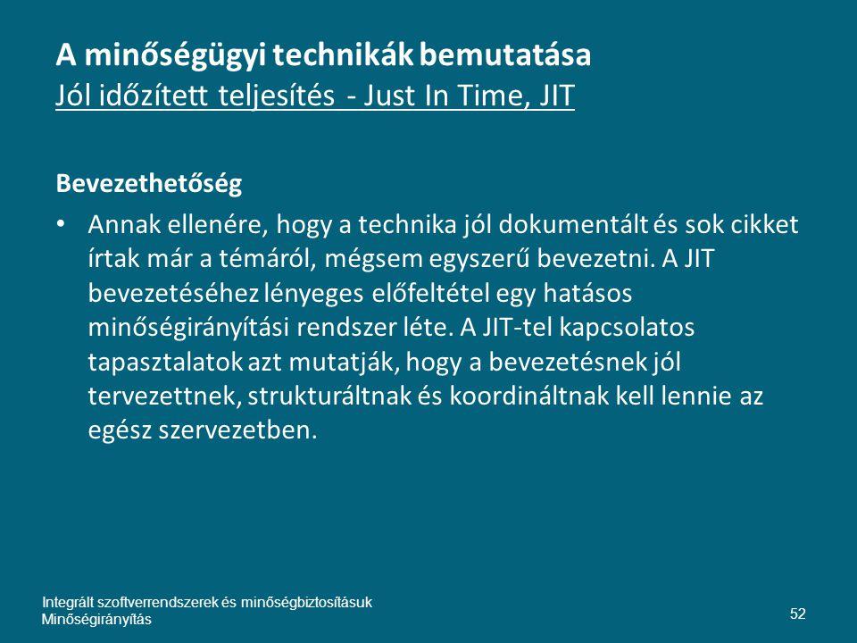 Inte A minőségügyi technikák bemutatása Jól időzített teljesítés - Just In Time, JIT. Bevezethetőség.
