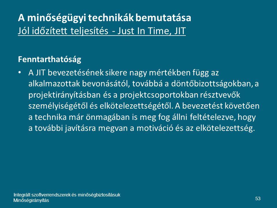 Inte A minőségügyi technikák bemutatása Jól időzített teljesítés - Just In Time, JIT. Fenntarthatóság.