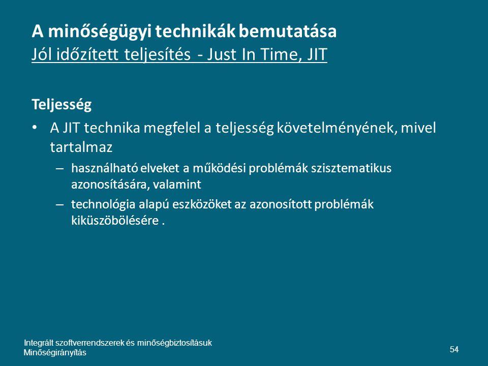 Inte A minőségügyi technikák bemutatása Jól időzített teljesítés - Just In Time, JIT. Teljesség.