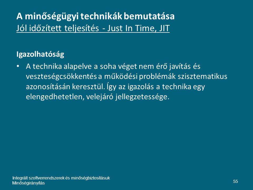 Inte A minőségügyi technikák bemutatása Jól időzített teljesítés - Just In Time, JIT. Igazolhatóság.