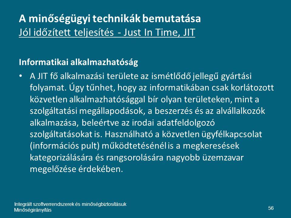 Inte A minőségügyi technikák bemutatása Jól időzített teljesítés - Just In Time, JIT. Informatikai alkalmazhatóság.