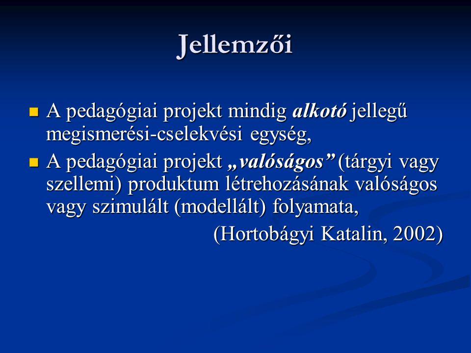 Jellemzői A pedagógiai projekt mindig alkotó jellegű megismerési-cselekvési egység,