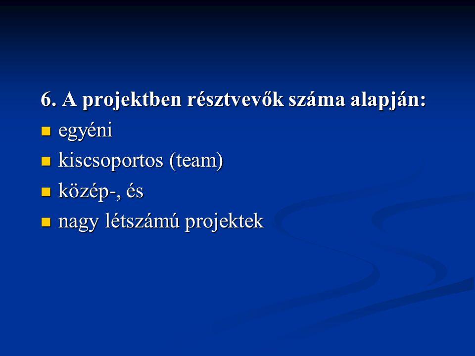 6. A projektben résztvevők száma alapján: