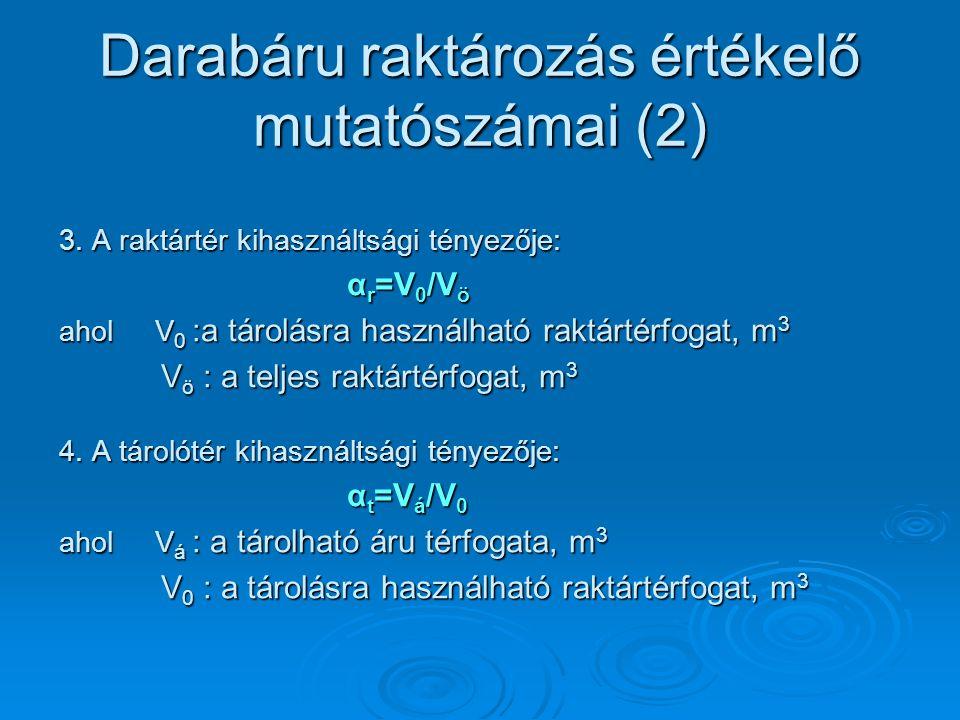 Darabáru raktározás értékelő mutatószámai (2)