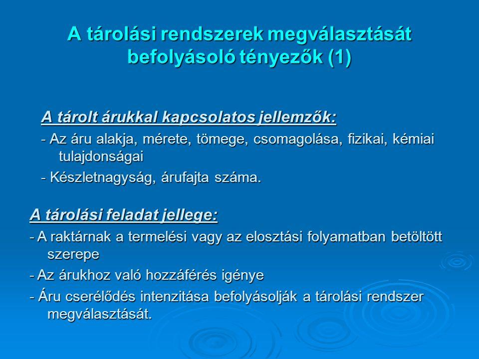 A tárolási rendszerek megválasztását befolyásoló tényezők (1)