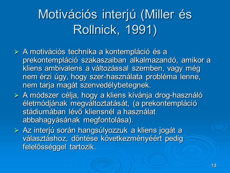 Motivációs interjú (Miller és Rollnick, 1991)