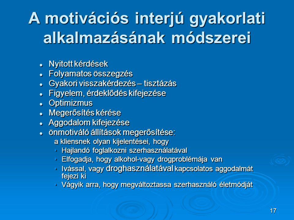 A motivációs interjú gyakorlati alkalmazásának módszerei