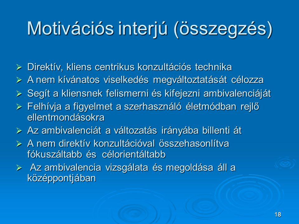 Motivációs interjú (összegzés)