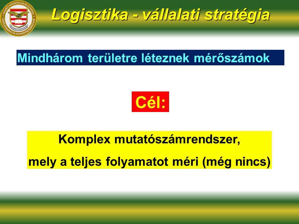 Cél: Logisztika - vállalati stratégia