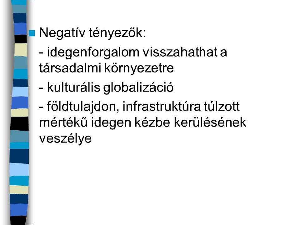 Negatív tényezők: - idegenforgalom visszahathat a társadalmi környezetre. - kulturális globalizáció.