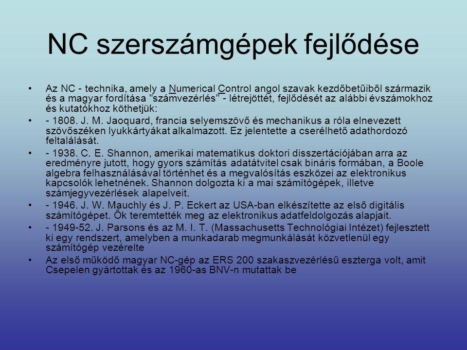 NC szerszámgépek fejlődése