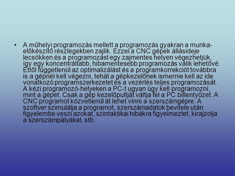 A műhelyi programozás mellett a programozás gyakran a munka-előkészítő részlegekben zajlik.