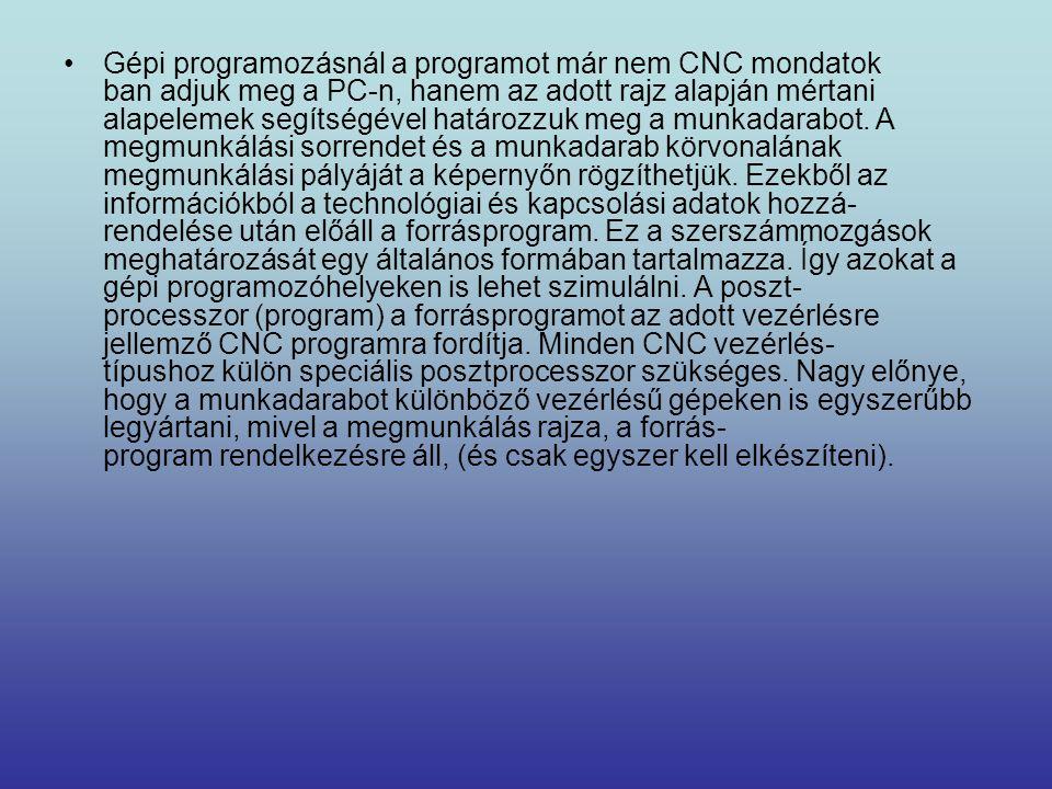 Gépi programozásnál a programot már nem CNC mondatok ban adjuk meg a PC-n, hanem az adott rajz alapján mértani alapelemek segítségével határozzuk meg a munkadarabot.