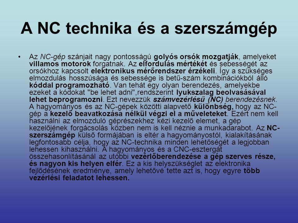 A NC technika és a szerszámgép