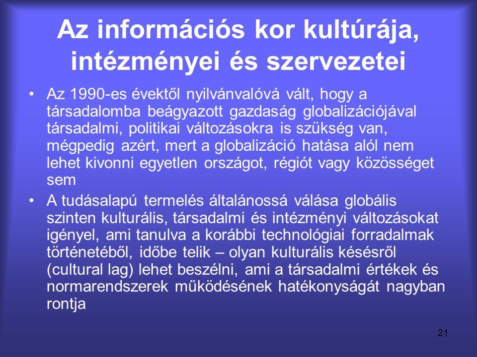 Az információs kor kultúrája, intézményei és szervezetei