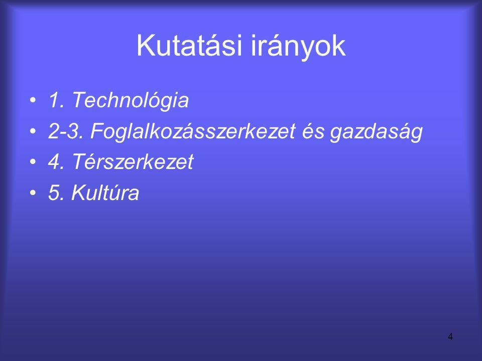 Kutatási irányok 1. Technológia 2-3. Foglalkozásszerkezet és gazdaság