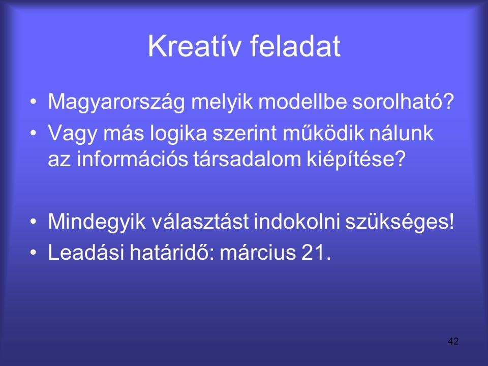 Kreatív feladat Magyarország melyik modellbe sorolható