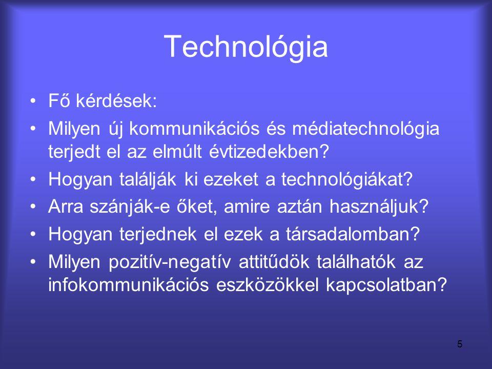 Technológia Fő kérdések: