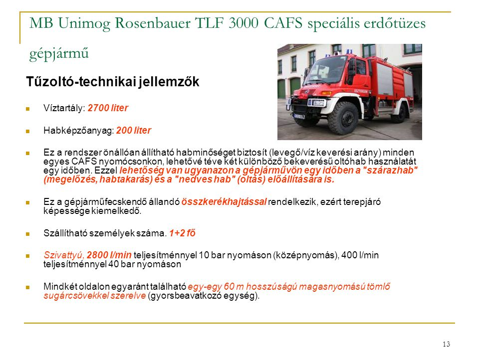 MB Unimog Rosenbauer TLF 3000 CAFS speciális erdőtüzes gépjármű