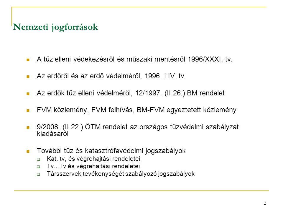 Nemzeti jogforrások A tűz elleni védekezésről és műszaki mentésről 1996/XXXI. tv. Az erdőről és az erdő védelméről, 1996. LIV. tv.