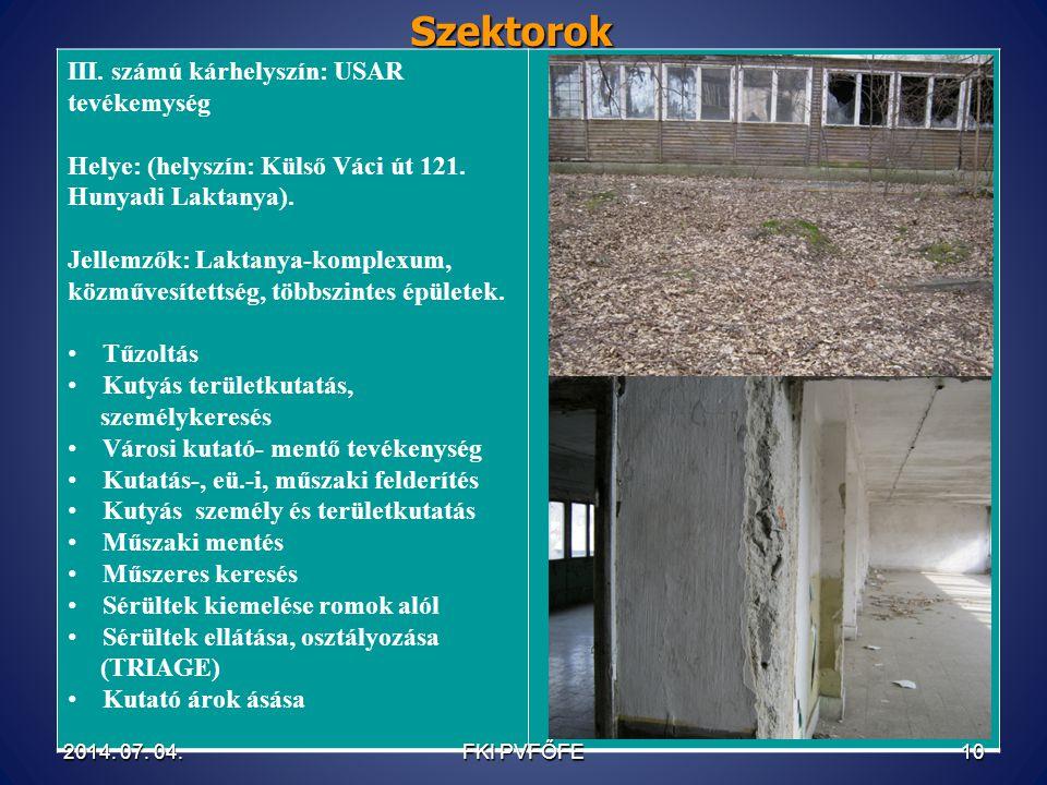 Szektorok III. számú kárhelyszín: USAR tevékemység